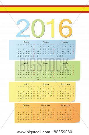 Spanish 2016 Vector Color Calendar.