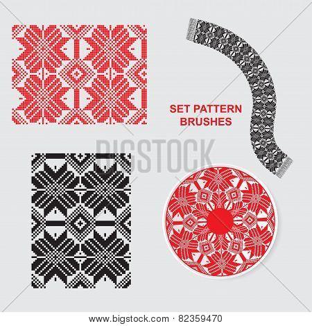 Set Of Ethnic Ornament Pattern Brushes. Vector Illustration