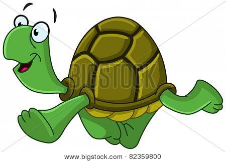 Happy turtle walking