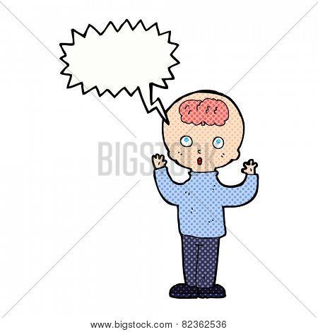 cartoon genius with speech bubble
