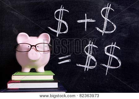 Piggy Bank With Blackboard