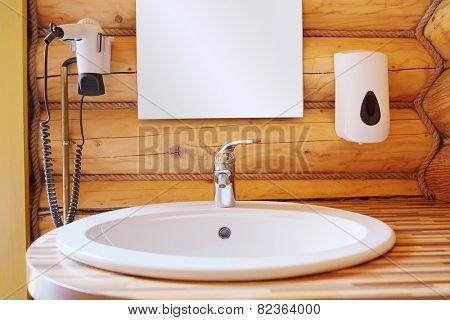 White wash sink in a bathroom