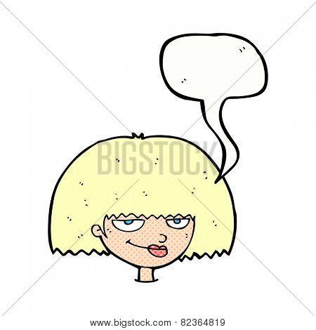 cartoon mean female face with speech bubble