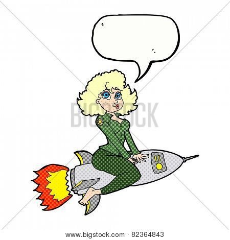 cartoon army pin up girl riding missile] with speech bubble