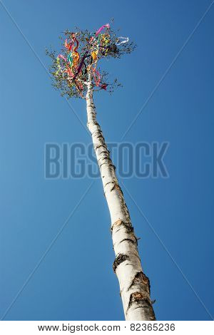 Beautiful Maypole And Blue Sky