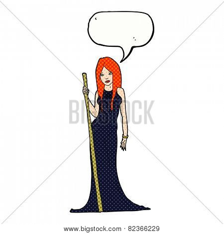 cartoon sorceress  with speech bubble