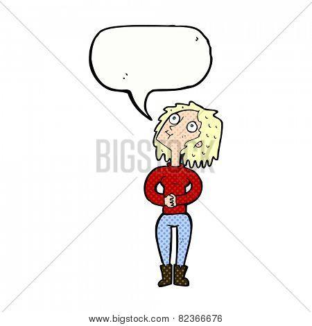 cartoon woman looking upwards with speech bubble
