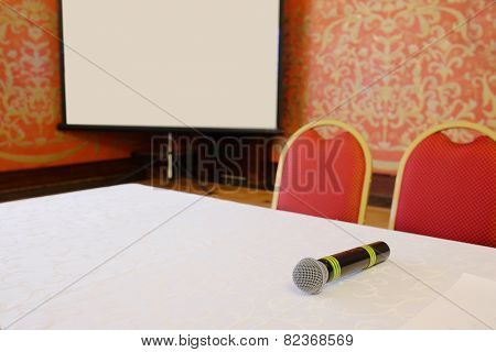 closeup of the microphone is on the table