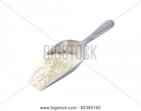 Metal scoop of finely ground flour