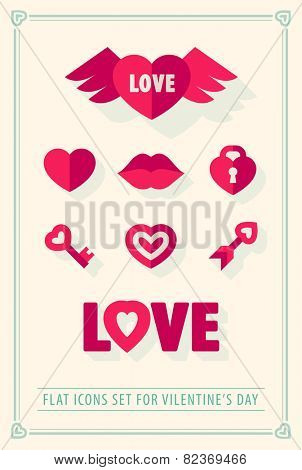 Valentines day love icons set with hearts retro vintage style. Eps10 vector illustration