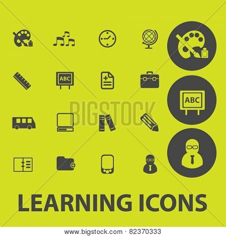 learning, study, school icons, signs, illustrations set, vector