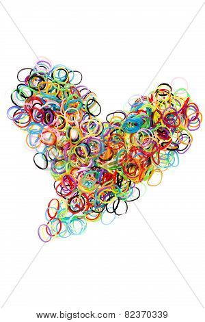 Colorful Elastic Rubber Bands Shape Heart