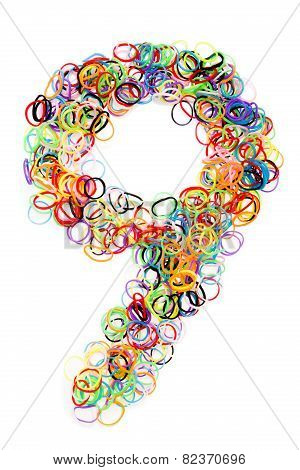Colorful Elastic Rubber Bands Shape Number Nine