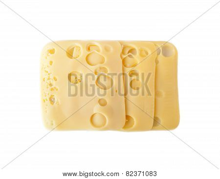 Three slices of Swiss cheese isolated over white background