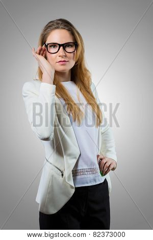 Cute nerdy woman in casual wear