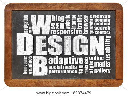 web design concept - a word cloud on a vintage slate blackboard