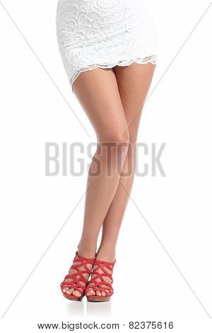Beauty Waxing Fashion Woman Legs Standing Wearing Red Heels