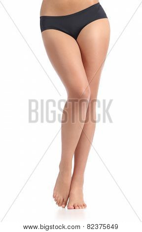 Sexy Woman Waxing Smooth Long Legs Posing Standing