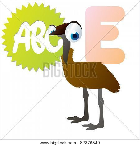 vector isolated cute happy big eyes abc animals: E is for Emu