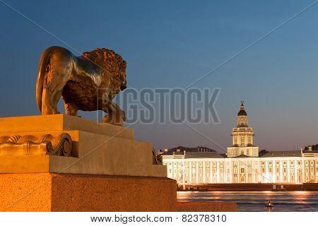 Kunstkamera and lion statue