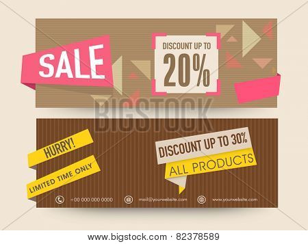 Sale website header or banner set with discount offer on all products.