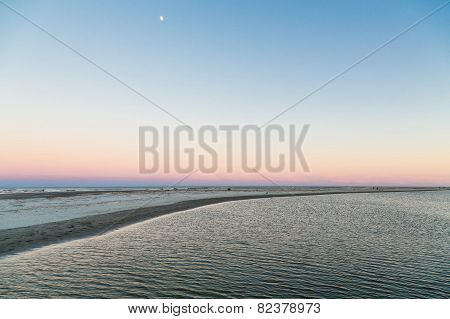 Moon At Sunset Over Tidewater