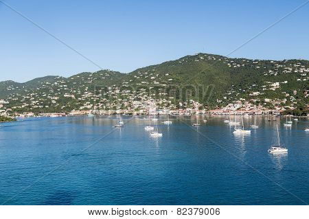 Sailboats Moored In Blue Water Of St Thomas Bay