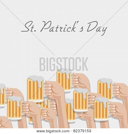 Happy St. Patrick's Day celebration with human hands cheering and showing beer mugs on grey background.