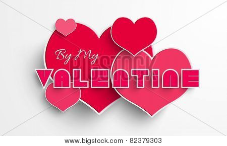 Pink hearts with text By My Valentine for Happy Valentine's Day celebration on shiny white background.