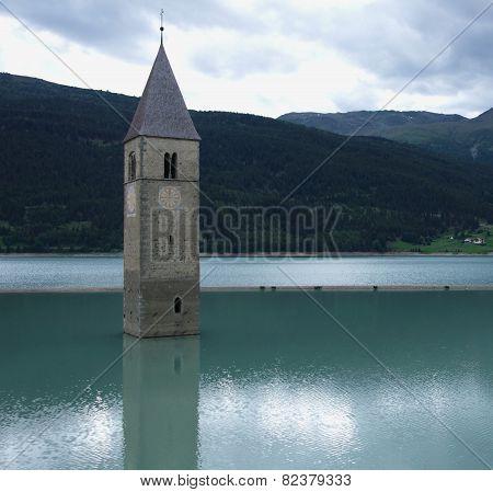Church In A Lake At Reschenpass