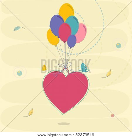 Colorful balloons binding by a pink heart for Happy Valentine's Day celebration.