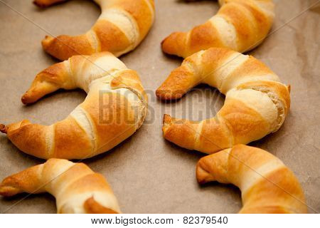 Croissants On A Baking Tray