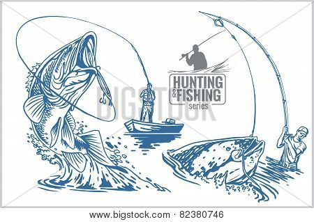 Fisherman and fish - vintage illustration