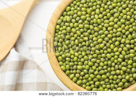 the mung beans on kitchen table