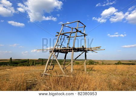 Wooden tower viewpoint in steppe