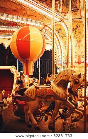 Horse And Bulb On Night Carousel