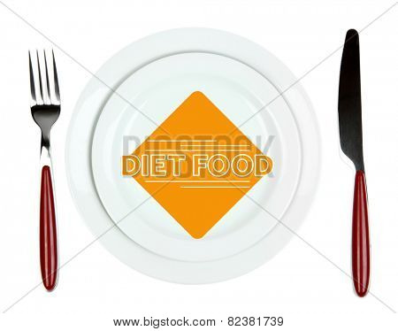 Plate with text Diet Food, fork and knife isolated on white