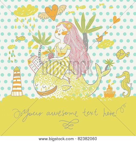 Tropical travel concept card in summer colors. Summer cartoon background with girl with cocktail under palm on the whale in the sea with lighthouse, sea horse and fish in vector