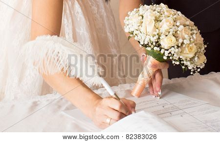 Wedding ceremony in a registry