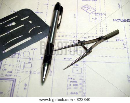 Drafting Tools on Blue Print