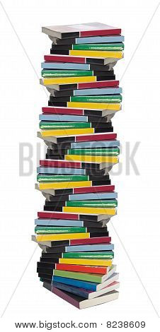Twisted Tower Of Colorful Real Books