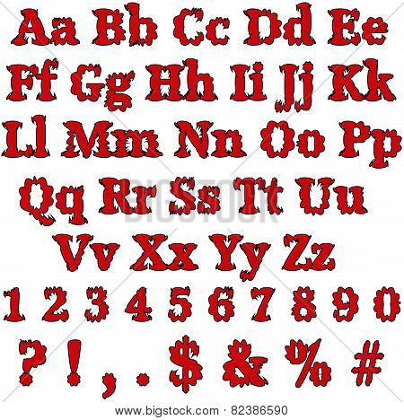 Crazy Red & Black Alphabet Letters