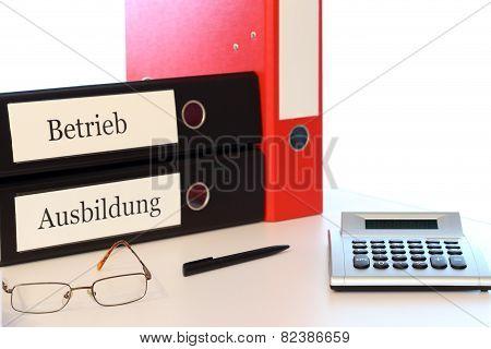 Office Desk With Folders