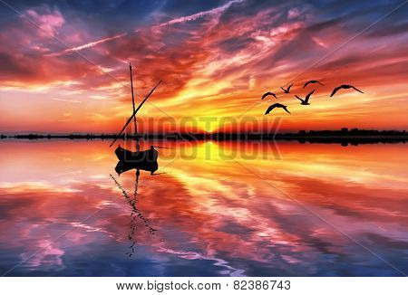 colorful clouds reflected in water