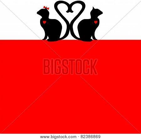 In Love - Red & Black Valentines Cat Poster