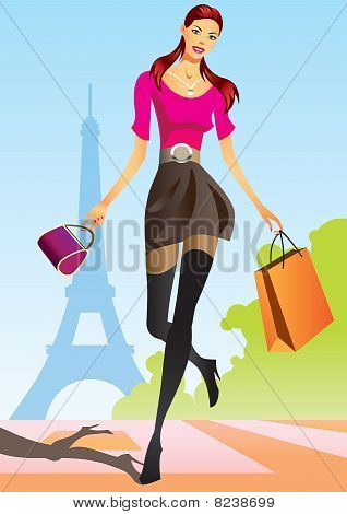 fashion shopping girls with shopping bag in Paris