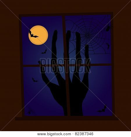 Scary Halloween Window Scene With Bats And Spiders