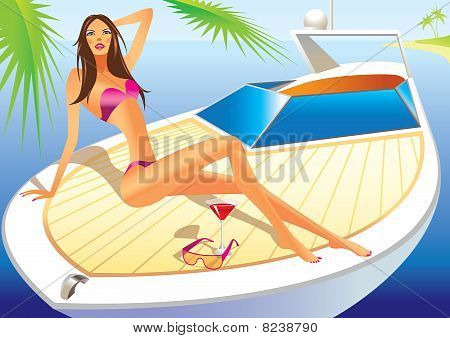 beautiful woman with bathing suit on the luxury yacht