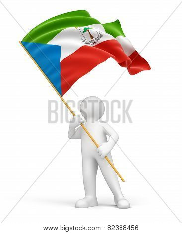 Man and Equatorial Guinea flag (clipping path included)