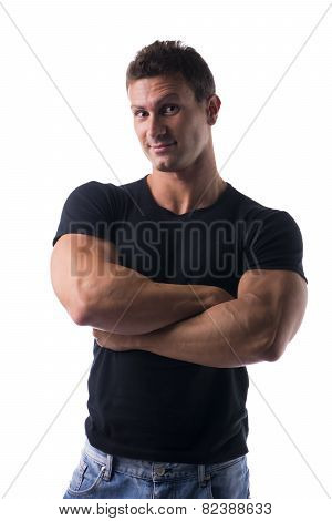 Confident And Happy Muscular Young Man Isolated On White
